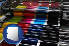 arizona map icon and an offset printing press with CMYK ink rollers