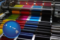 hawaii map icon and an offset printing press with CMYK ink rollers