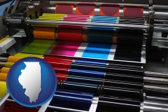 il map icon and an offset printing press with CMYK ink rollers