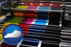 ky map icon and an offset printing press with CMYK ink rollers