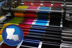 louisiana an offset printing press with CMYK ink rollers