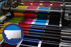 mt map icon and an offset printing press with CMYK ink rollers