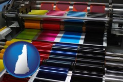 nh map icon and an offset printing press with CMYK ink rollers