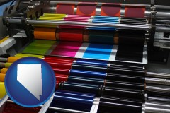 nv map icon and an offset printing press with CMYK ink rollers