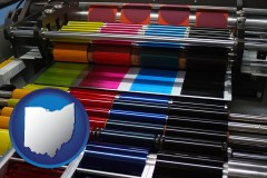 ohio map icon and an offset printing press with CMYK ink rollers