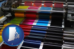 rhode-island an offset printing press with CMYK ink rollers