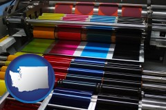 wa an offset printing press with CMYK ink rollers