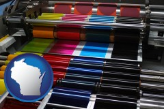 wi map icon and an offset printing press with CMYK ink rollers