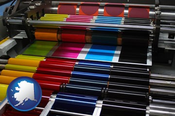 an offset printing press with CMYK ink rollers - with Alaska icon