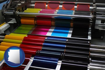 an offset printing press with CMYK ink rollers - with Arizona icon