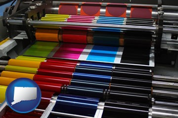 an offset printing press with CMYK ink rollers - with Connecticut icon