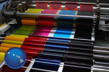 an offset printing press with CMYK ink rollers - with Hawaii icon