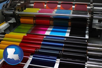 an offset printing press with CMYK ink rollers - with Louisiana icon