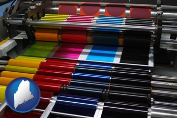 an offset printing press with CMYK ink rollers - with Maine icon