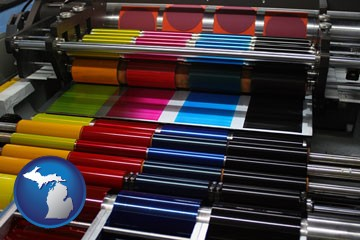 an offset printing press with CMYK ink rollers - with Michigan icon