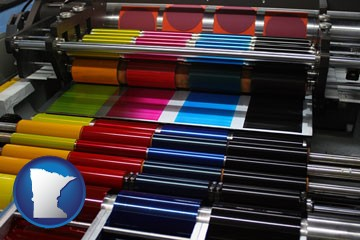 an offset printing press with CMYK ink rollers - with Minnesota icon