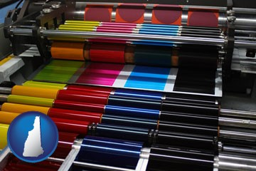 an offset printing press with CMYK ink rollers - with New Hampshire icon