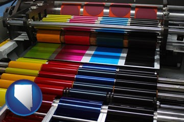 an offset printing press with CMYK ink rollers - with Nevada icon