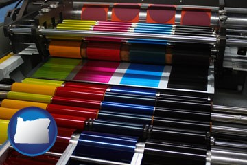 an offset printing press with CMYK ink rollers - with Oregon icon