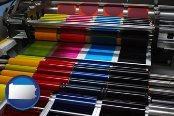 an offset printing press with CMYK ink rollers - with Pennsylvania icon