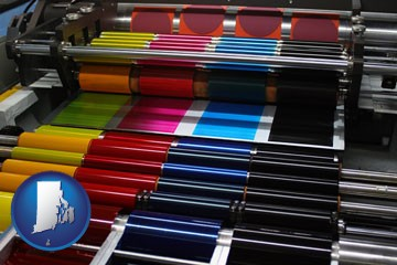 an offset printing press with CMYK ink rollers - with Rhode Island icon