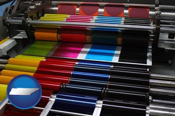 an offset printing press with CMYK ink rollers - with Tennessee icon