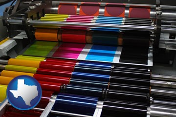 an offset printing press with CMYK ink rollers - with Texas icon
