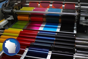 an offset printing press with CMYK ink rollers - with Wisconsin icon