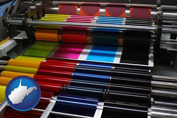 an offset printing press with CMYK ink rollers - with West Virginia icon